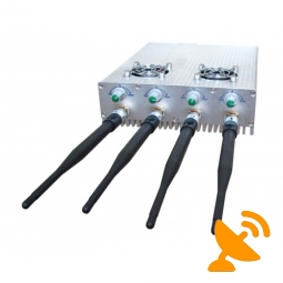 4 Antenna Cell Phone Jammer - Adjustable Remote Control Cooling Fan