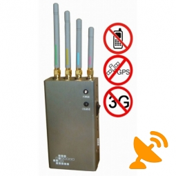 5 Band Portable GPS & GSM,CDMA,DCS,PHS,3G Mobile Phone Jammer
